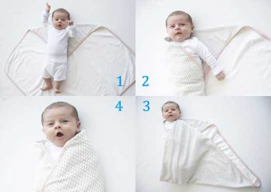 - langkah membedong bayi, urutan berlawanan arah jarum jam -
